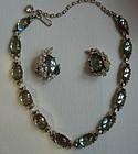 Estate Saphiret & Rhinestone Necklace and Earrings Set