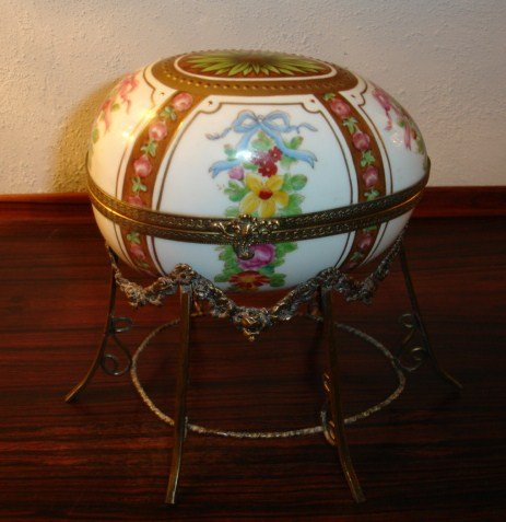 Stunning Huge Limoges Egg Vanity Box on Ormolu Stand
