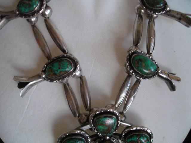 Vintage Navajo Sterling Silver Squash Blossom Necklace