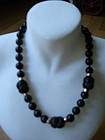 Gumps Carved Black Jade Necklace 14k Gold