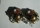 Vintage Saphiret Baroque Pearl Haskell Style Earrings