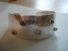 Swedish Sterling Silver Modernist Cuff Bracelet AMS