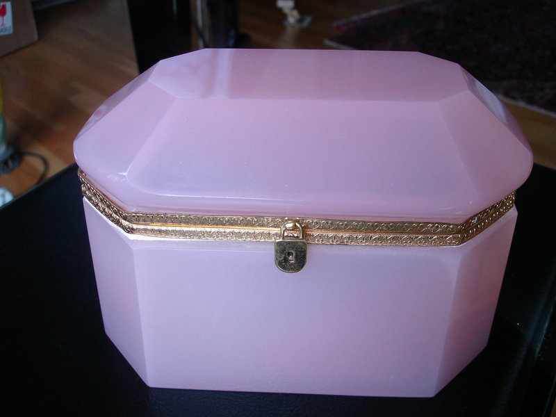 Pink Opaline French Jewelry Casket or Dresser Box As/is