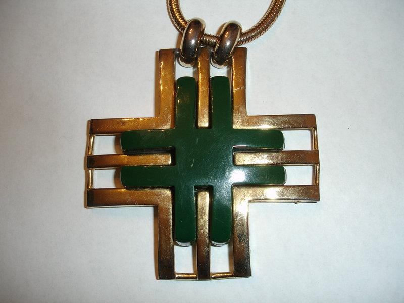 Vintage Lanvin Modernist Lucite Maltese Cross Necklace