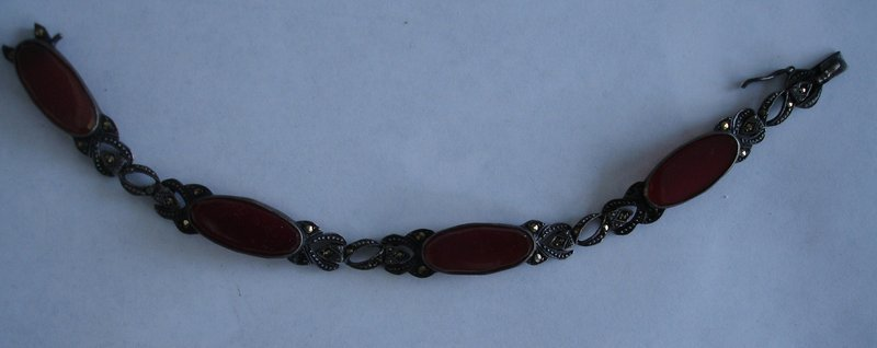Art Deco Sterling Germany Marcasite Carnelian Bracelet