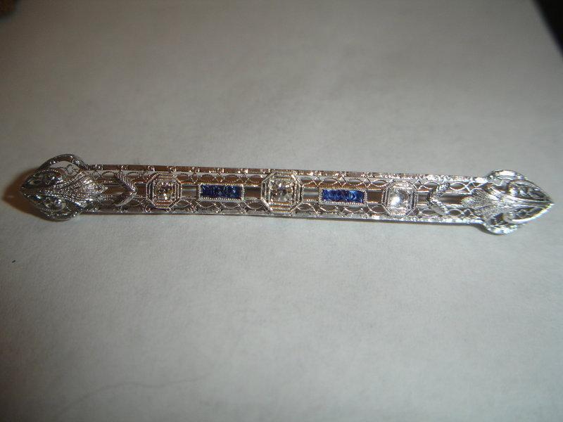 Art Deco 14K White Gold Diamond Sapphire Bar Pin