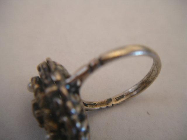 Antique Austro Hungarian Garnet Pearl 800 Silver Ring