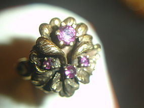 14k Gold Rhodolite Garnet Flower Ring Laguna Beach Sz 6