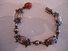 Early Georg Jensen #11 Sterling Denmark Bracelet Coral