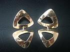 Vintage Modernist Ed Levin 14k Gold Drop Earrings