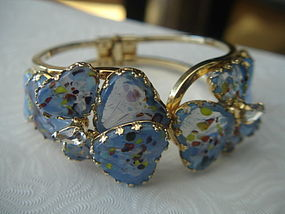 Hobe Mayorka Petal Hearts  Art Glass Clamper Bracelet