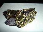 Carvalhu Brutalist Modernist Brass Bracelet Amethyst
