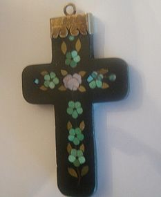 Victorian Pietra Dura Cross Pendant Gold Fitting