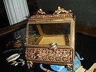 Ormolu Jewelry Casket  Box Bevel Glass Cherubs & Birds