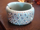 Vintage Unsigned Weiss WIDE Lucite Rhinestone Bracelet