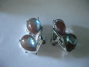 Rare Coro Saphiret Glass Earrings