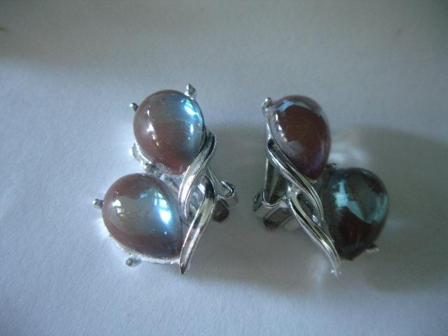 Rare Coro Saphiret Glass Earrings