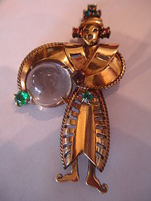 Vintage Coro Craft Corocraft Jelly Belly Asian Brooch