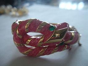 Trifari Garden of Eden Enamel Snake Bracelet Pink