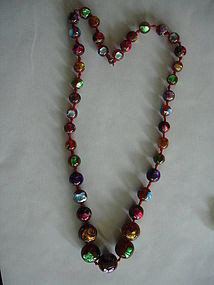 Venetian Foil Bead Beads Necklace Multi Color !