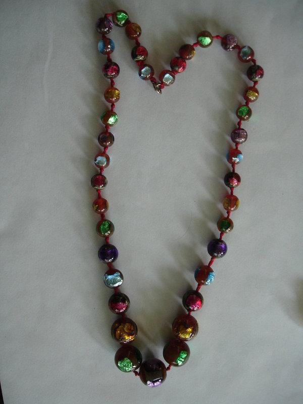 Venetian Foil Bead Beads Necklace Multi Color !