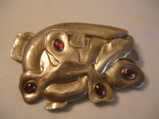 Denmark Skonvirke 826 Silver Huge Brooch Cabachon Jewel