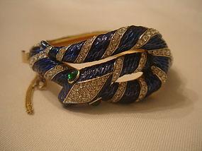 Trifari Garden of Eden Blue Snake Bracelet
