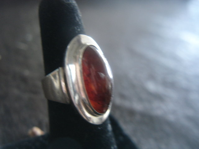N.E. From Denmark Sterling Silver Modernist Ring Amber