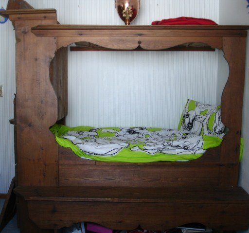 Antique Swedish Wooden Cupboard Bed Circa 1700 Museum