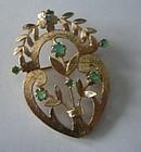 Vintage ALA Casting 14K Gold Emerald Pin Pendant 1967
