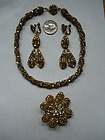 Miriam Haskell Signed Necklace Brooch Drop Earrings Set