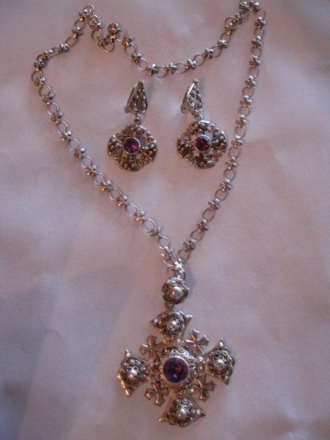 Large Jerusalem Cross Pendant Necklace Earrings Set