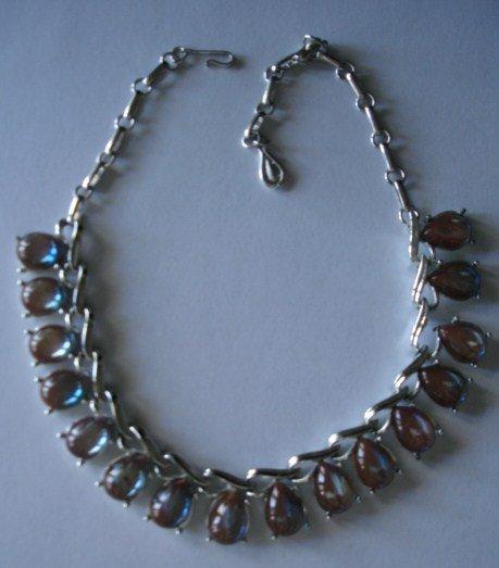 Coro Saphiret  Necklace 16 Stones ~ Heavy