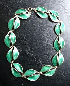 David Andersen Norway Sterling Silver Enamel Necklace
