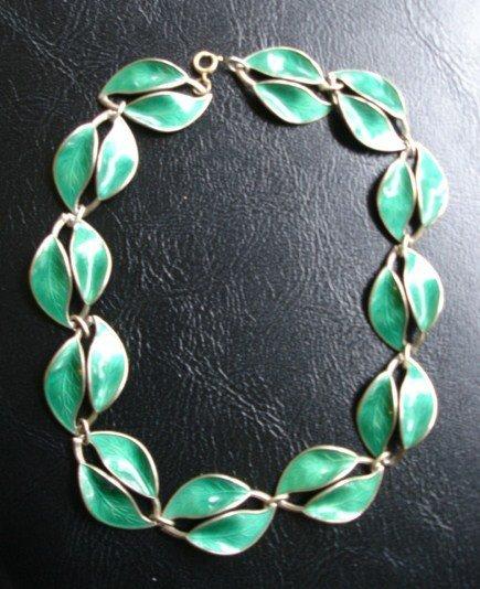 David Andersen Norway Sterling Silver Enamel Necklace