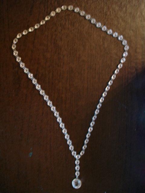 Art Deco Silver Bezel Set Faceted Rock Crystal Necklace