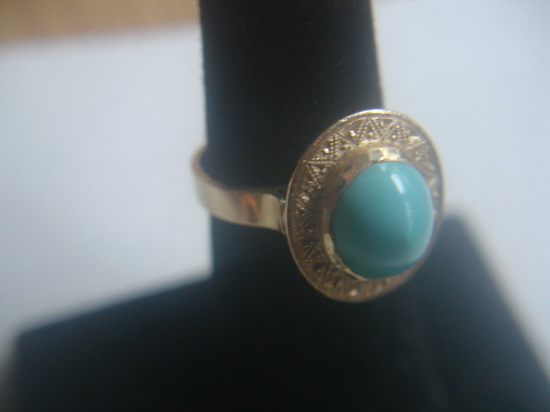 Antique 18k Persian Turquoise Gold Ring