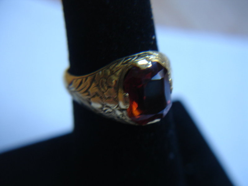 Antique Edwardian 14k Gold Orange Topaz Ring