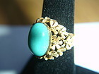 Vintage Persian Turquoise 18k Fancy Gold Ring Italy