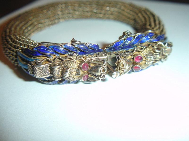 Antique Chinese Silver  Enamel Dragon Bracelet Mesh