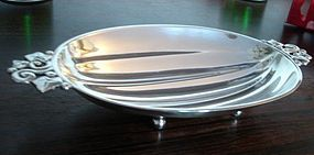 Tiffany Sterling Silver Melon Bowl Leaf Design 1940s