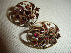 Bohemian Gilt Sterling Garnet Earrings Victorian Edwardian