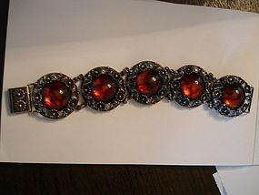 Vintage Niels Erik From Denmark Sterling Silver Amber Bracelet
