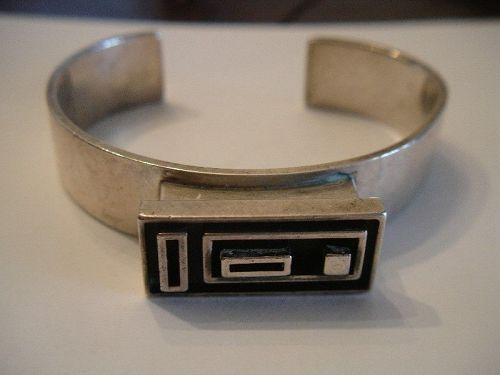 Vintage Sven Haugaard Denmark Sterling Silver Modernist Cuff Bracelet
