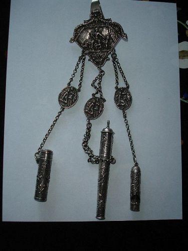 Large Antique Figural Dutch Sterling Silver Chatelaine Hallmarks 5.4ou