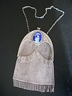 Antique 800 Silver Mesh Purse Enamel Swan Germany