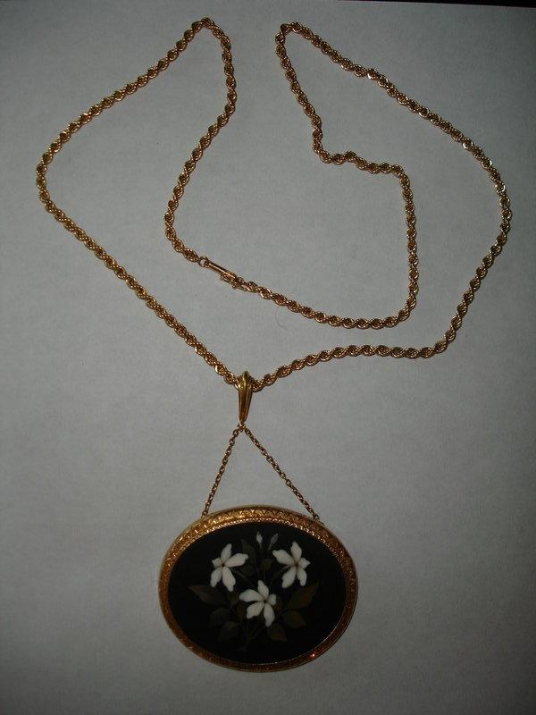 Large Antique Pietra Dura Necklace Set in 14K Gold