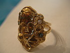 Art Nouveau Woman Flowing Hair Ring 14K Gold Diamond Sapphires