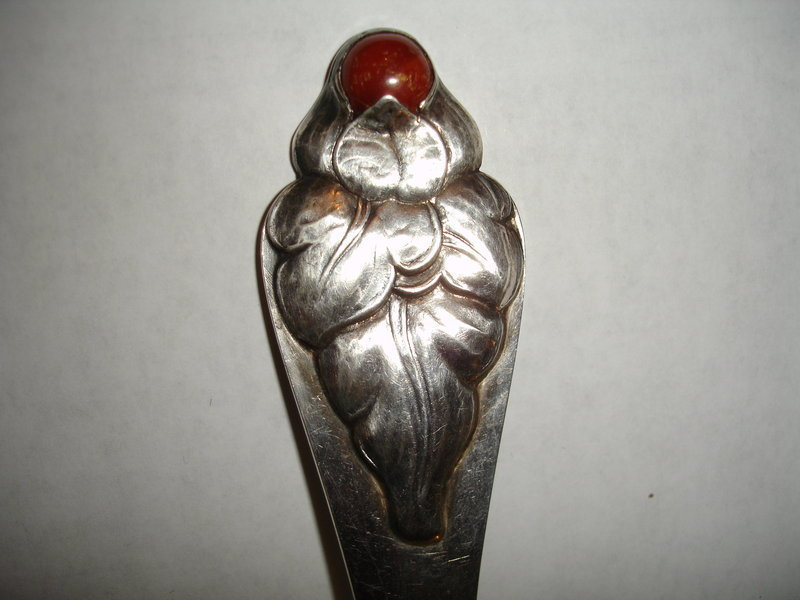 Antique Large Sterling Silver Denmark Skonvirke Spoon Amber Cabachon