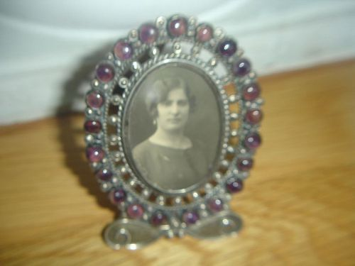 Morales Mexican Sterling Silver Amethyst Cabachon Picture Frame